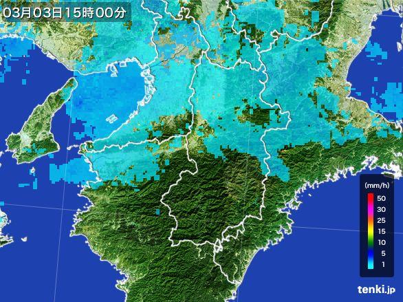 奈良県の雨雲レーダー(2015年03月03日)