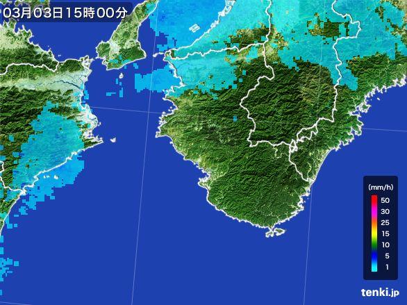 和歌山県の雨雲レーダー(2015年03月03日)