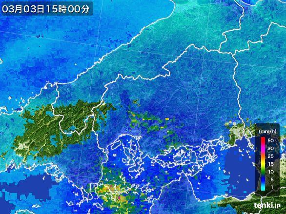 広島県の雨雲レーダー(2015年03月03日)