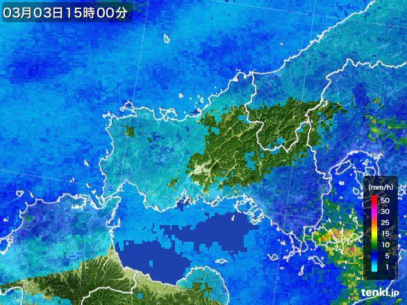 山口県の雨雲レーダー(2015年03月03日)