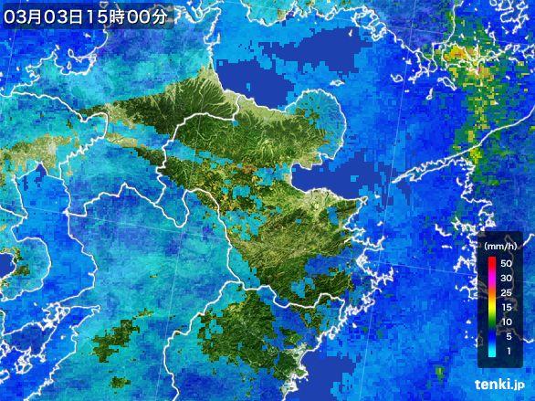 大分県の雨雲レーダー(2015年03月03日)