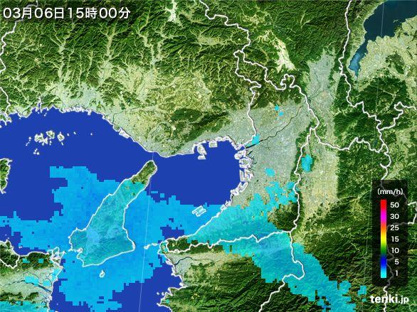 大阪府の雨雲レーダー(2015年03月06日)