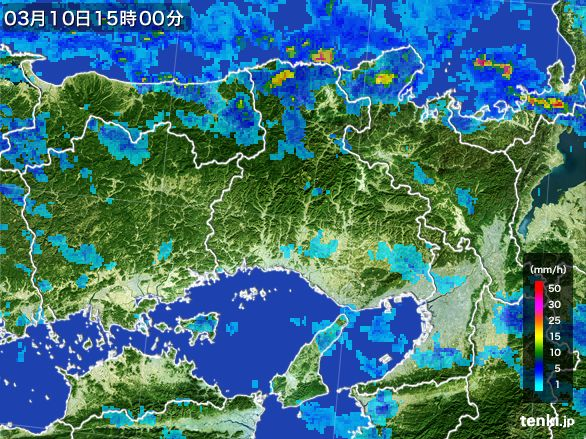 兵庫県の雨雲レーダー(2015年03月10日)