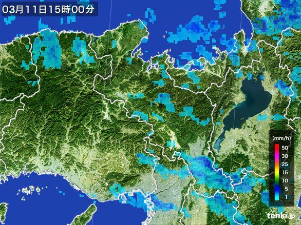 京都府の雨雲レーダー(2015年03月11日)