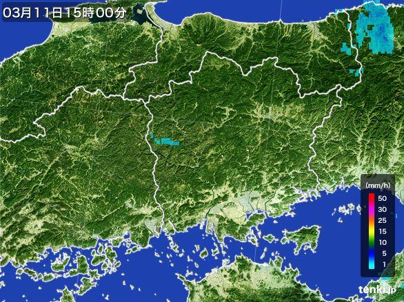 岡山県の雨雲レーダー(2015年03月11日)