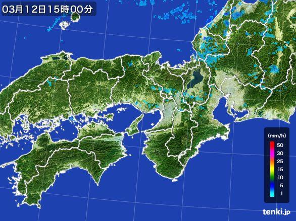 近畿地方の雨雲レーダー(2015年03月12日)