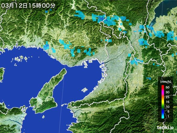 大阪府の雨雲レーダー(2015年03月12日)