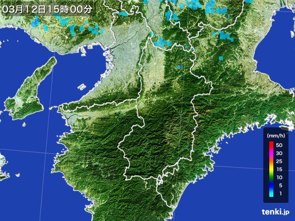 奈良県の雨雲レーダー(2015年03月12日)