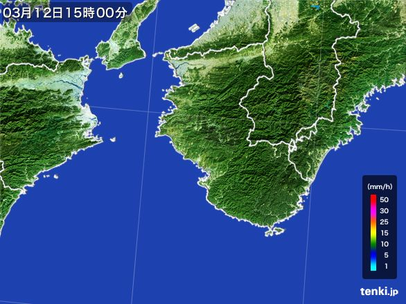 和歌山県の雨雲レーダー(2015年03月12日)