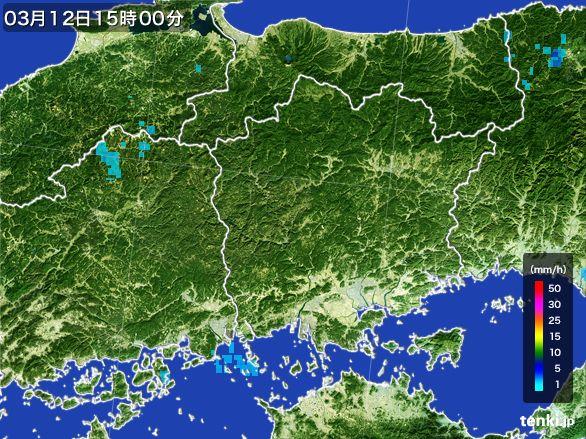 岡山県の雨雲レーダー(2015年03月12日)