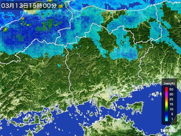 岡山県の雨雲レーダー(2015年03月13日)