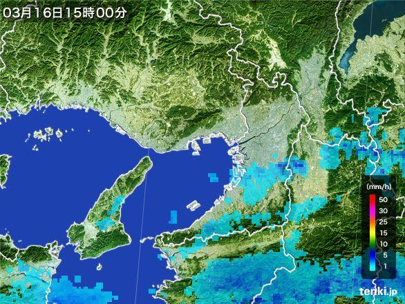 大阪府の雨雲レーダー(2015年03月16日)