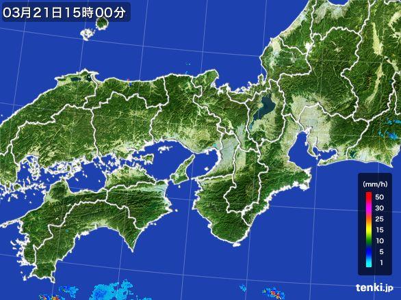 近畿地方の雨雲レーダー(2015年03月21日)