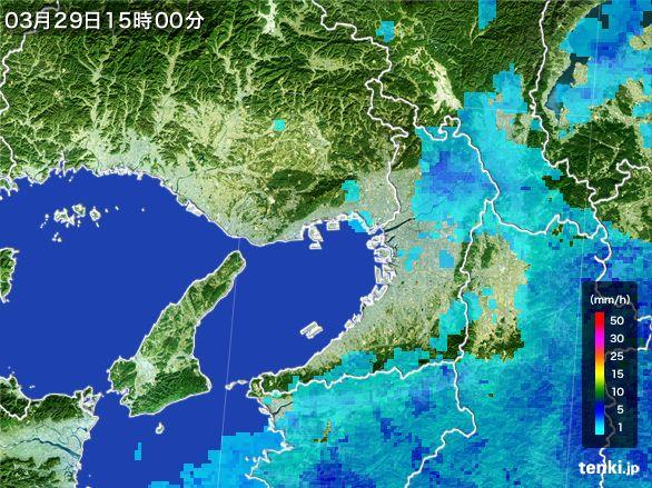 大阪府の雨雲レーダー(2015年03月29日)