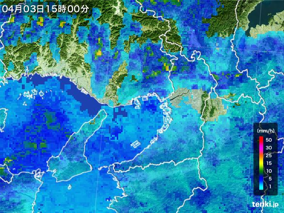大阪府の雨雲レーダー(2015年04月03日)