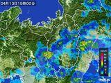 2015年04月13日の滋賀県の雨雲レーダー