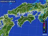2015年05月04日の四国地方の雨雲の動き