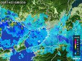 2015年05月14日の大阪府の雨雲レーダー