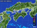 2015年05月15日の四国地方の雨雲の動き