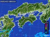 2015年05月24日の四国地方の雨雲の動き