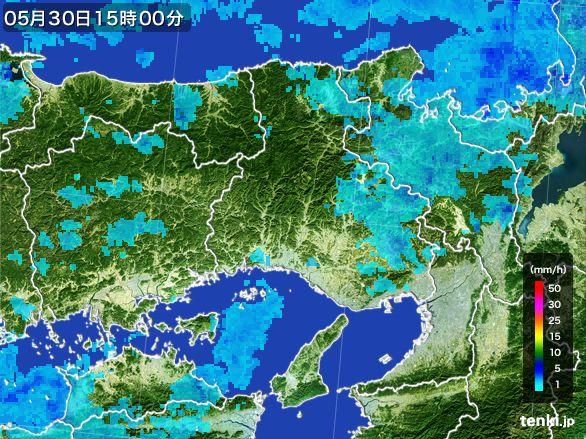 兵庫県の雨雲レーダー(2015年05月30日)