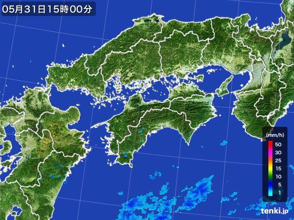 四国地方の雨雲レーダー(2015年05月31日)