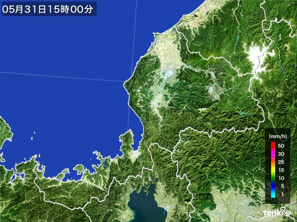 福井県の雨雲レーダー(2015年05月31日)