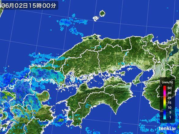 中国地方の雨雲レーダー(2015年06月02日)