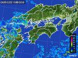 2015年06月02日の四国地方の雨雲の動き