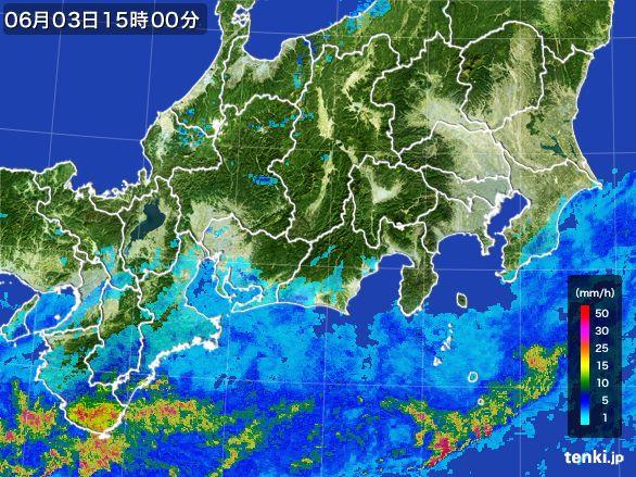 東海地方の雨雲レーダー(2015年06月03日)