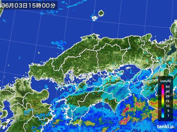 中国地方の雨雲レーダー(2015年06月03日)