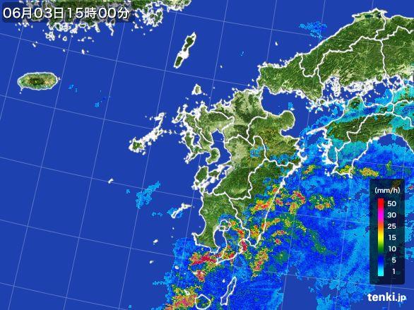 九州地方の雨雲レーダー(2015年06月03日)