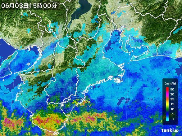 三重県の雨雲レーダー(2015年06月03日)