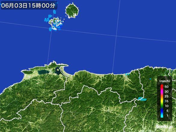 鳥取県の雨雲レーダー(2015年06月03日)