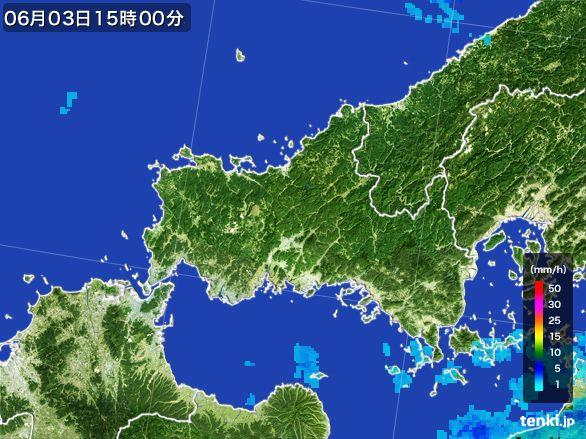 山口県の雨雲レーダー(2015年06月03日)