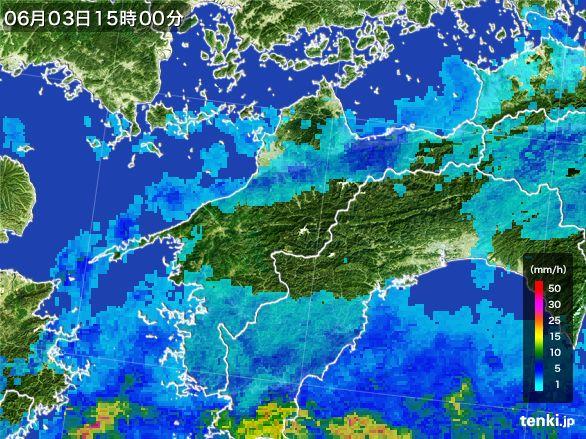愛媛県の雨雲レーダー(2015年06月03日)