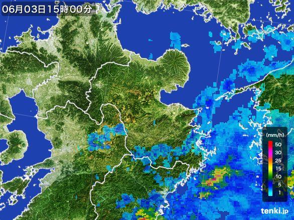 大分県の雨雲レーダー(2015年06月03日)