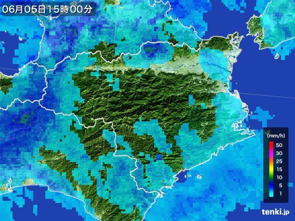 徳島県の雨雲レーダー(2015年06月05日)