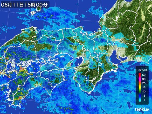 近畿地方の雨雲レーダー(2015年06月11日)