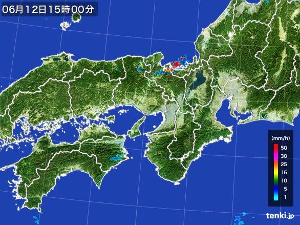 近畿地方の雨雲レーダー(2015年06月12日)