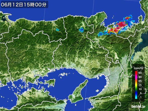 兵庫県の雨雲レーダー(2015年06月12日)