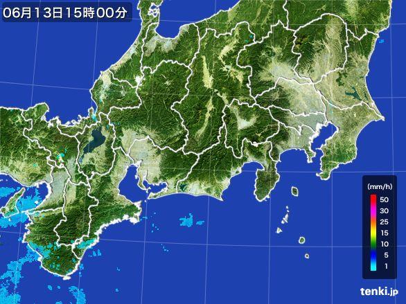 東海地方の雨雲レーダー(2015年06月13日)