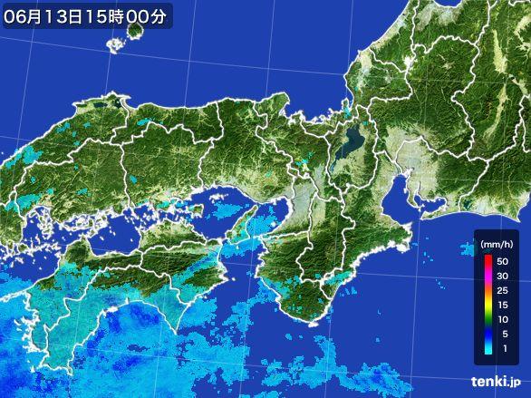 近畿地方の雨雲レーダー(2015年06月13日)