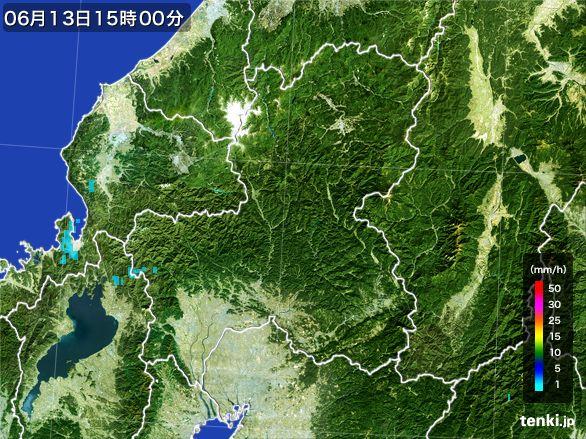 岐阜県の雨雲レーダー(2015年06月13日)