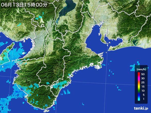 三重県の雨雲レーダー(2015年06月13日)