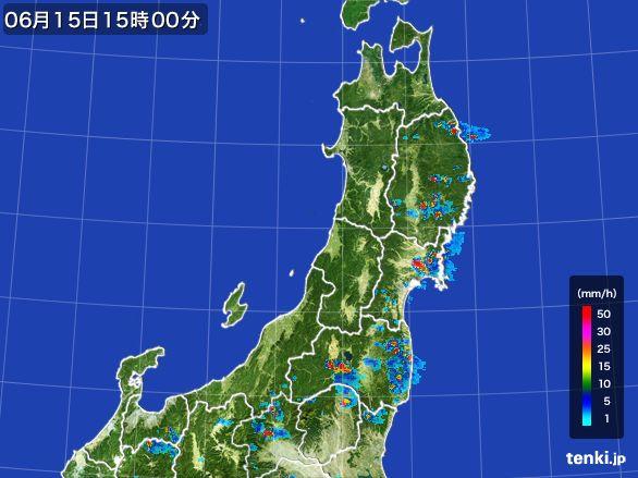 東北地方の雨雲レーダー(2015年06月15日)