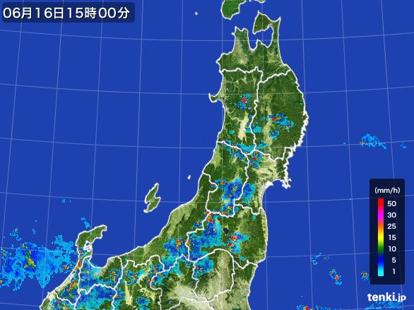 東北地方の雨雲レーダー(2015年06月16日)