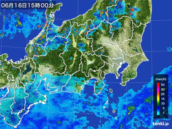 関東・甲信地方の雨雲レーダー(2015年06月16日)