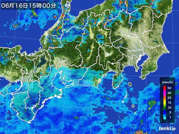東海地方の雨雲レーダー(2015年06月16日)