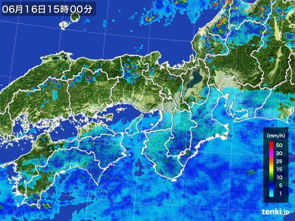 近畿地方の雨雲レーダー(2015年06月16日)